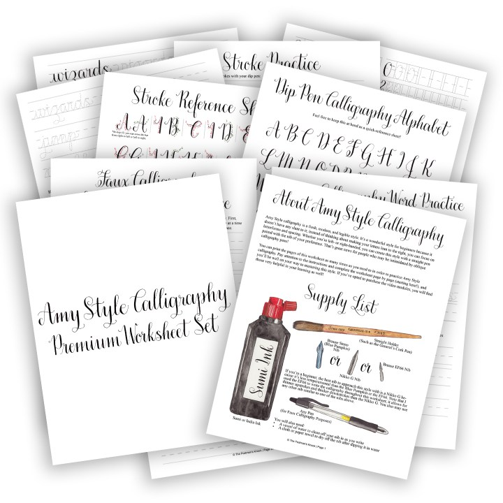 Premium Calligraphy Worksheet Set {Amy Style} | The Postman's Knock