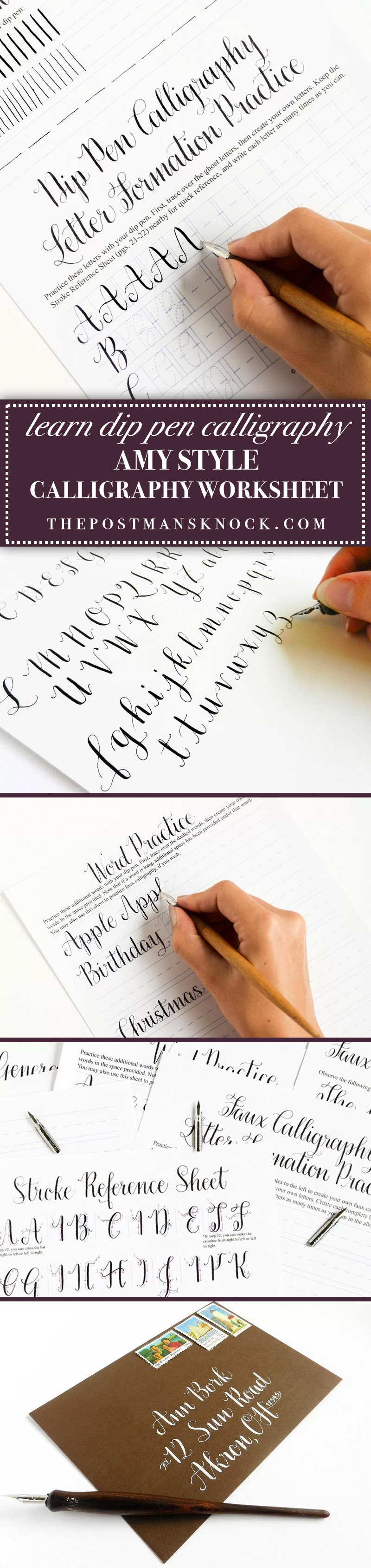 Introducing the Amy Style Learn Calligraphy for a Latté Worksheet Set + Video Course | The Postman's Knock