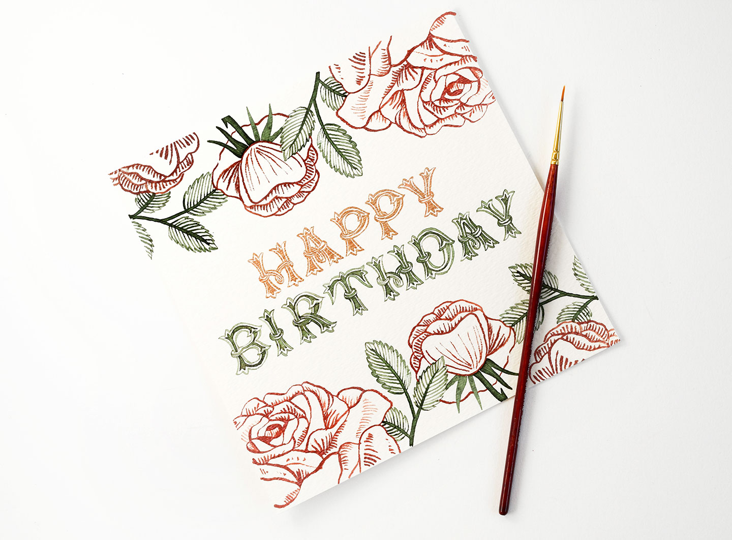 """Birthday card featuring """"Flytrap"""" lettering"""