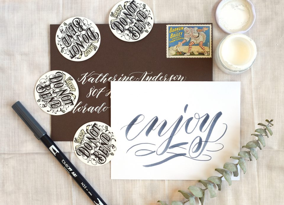 Free brush pen calligraphy worksheet the postman s knock