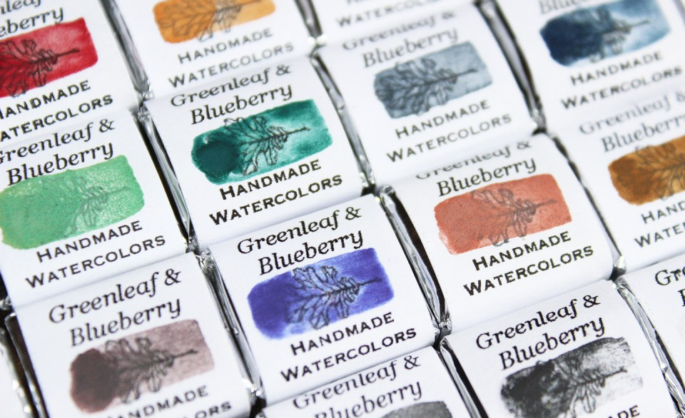 Artisanal Watercolors | Greenleaf & Blueberry via The Postman's Knock