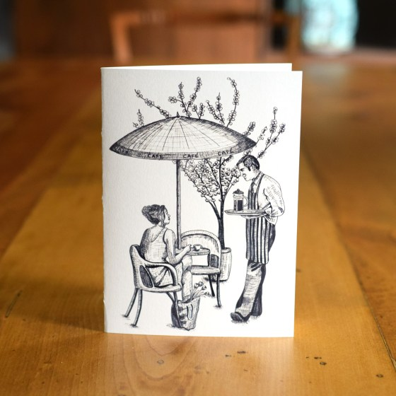 """This """"Chatting at the Café"""" A7 Card celebrates the very Parisian tradition of taking a few moments out of the day to relax at a café!"""