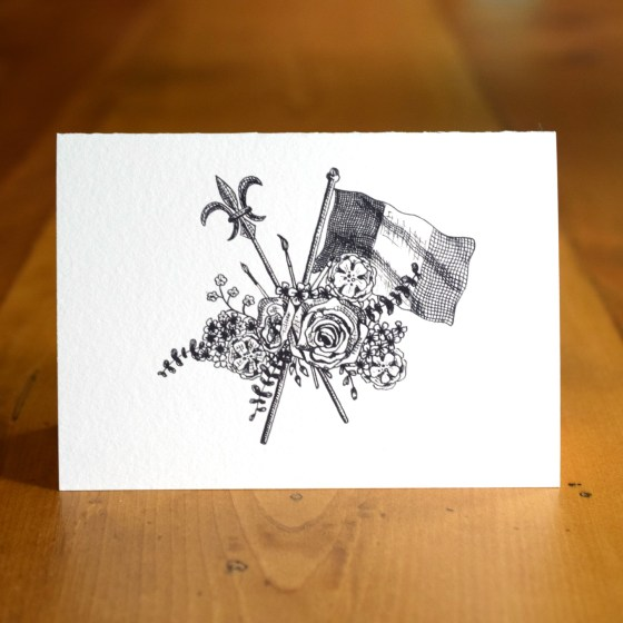 """The """"French Flag Bouquet"""" A7 Card represents all things French: the French flag, the fleur-de-lis, art, and florals."""