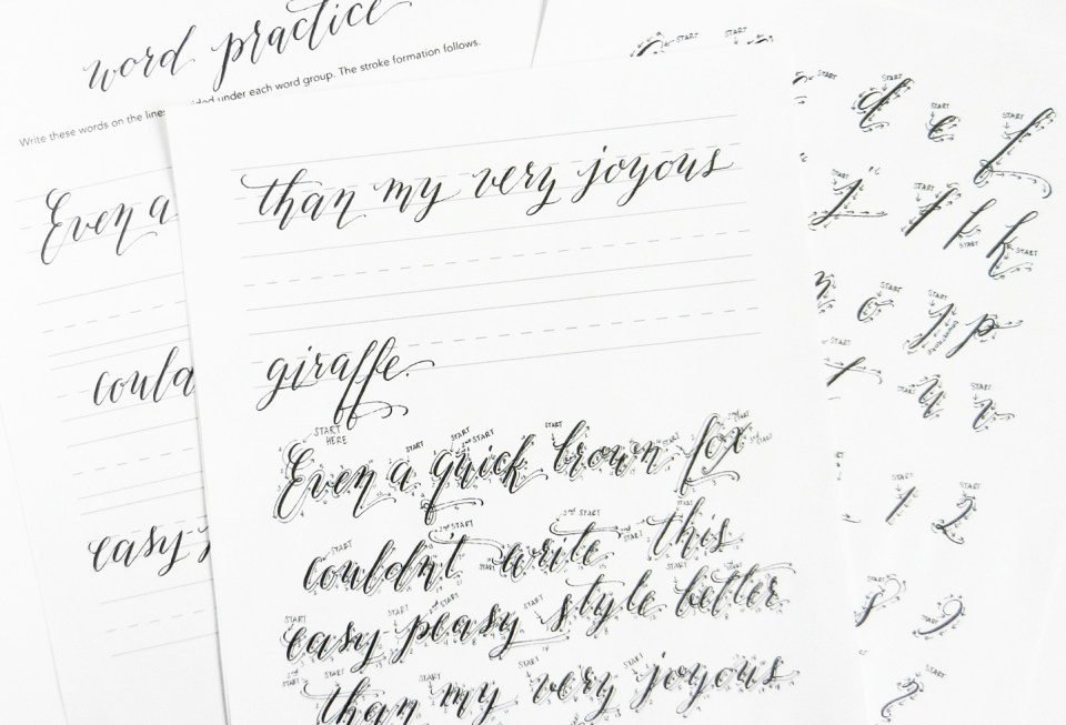 The New Kaitlin Style Calligraphy Worksheet is Here! | The Postman's Knock