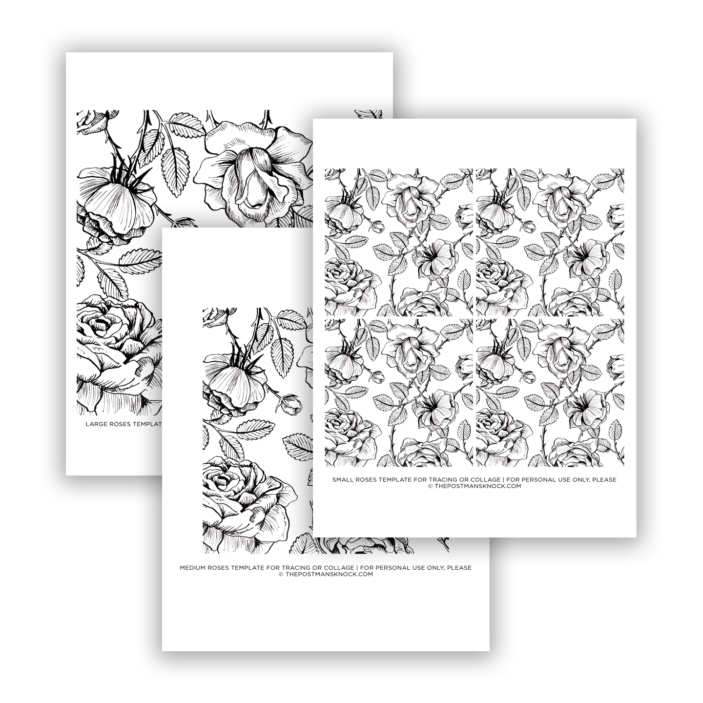 Illustrated Roses Templates for Tracing/Collage | The Postman\'s Knock