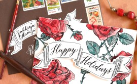 DIY Holiday Card + Artistic Envelope Tutorial (Includes Free Banner Printable) | The Postman's Knock
