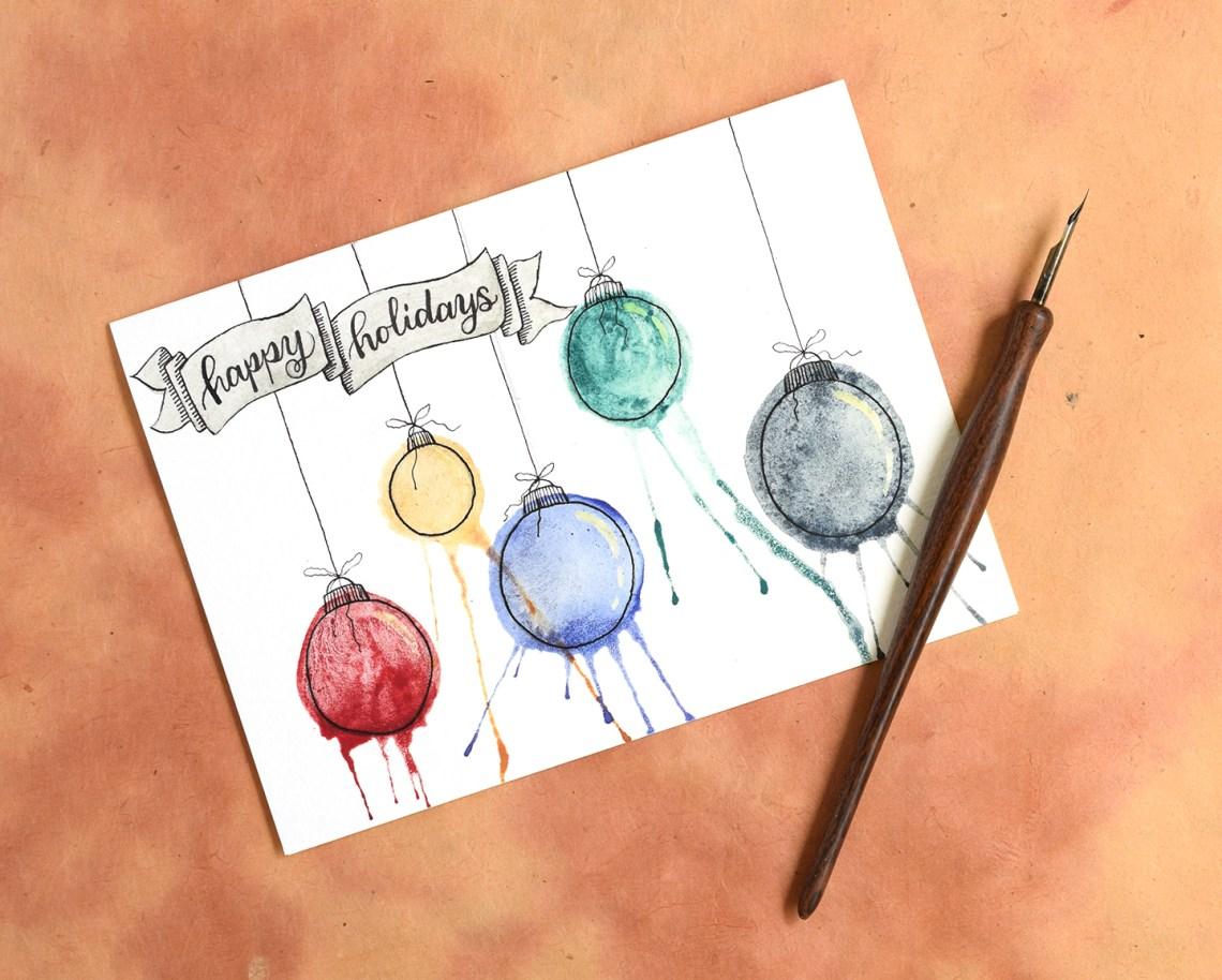 """Artistic Ornaments""-Themed DIY Christmas Card Tutorial | The Postman's Knock"