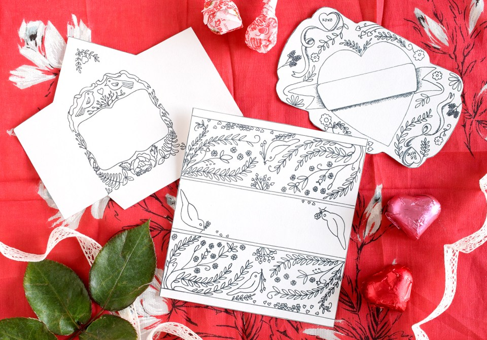 Free Artistic Valentine's Day Printables | Pam Ash Designs via The Postman's Knock