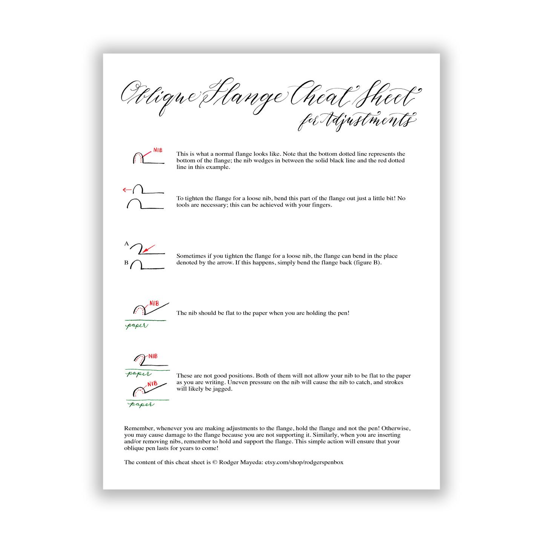 image regarding Printable Cheat Sheet named Indirect Pen Flange Adjustment Printable Cheat Sheet The