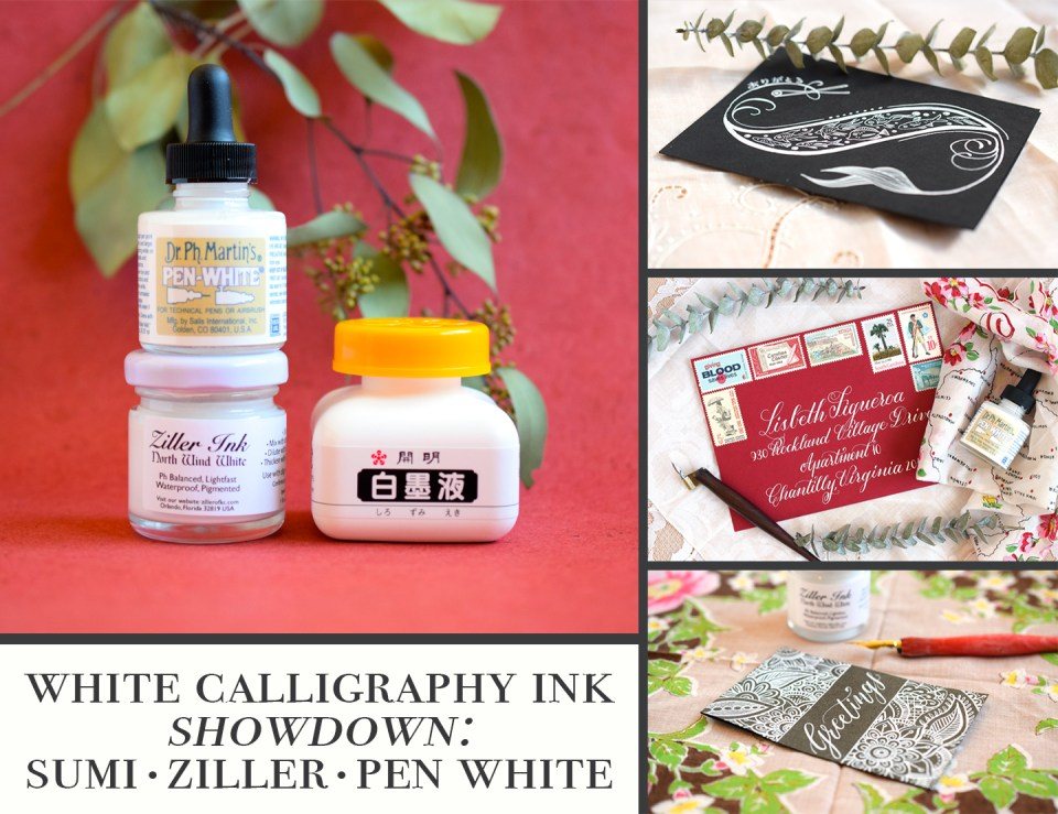 White Calligraphy Ink Showdown: Sumi, Ziller, & Pen White | The Postman's Knock