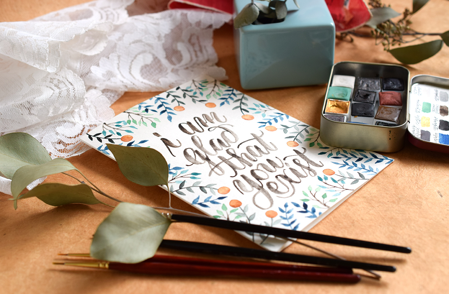 Citrus Watercolor Birthday Card Tutorial | The Postman's Knock