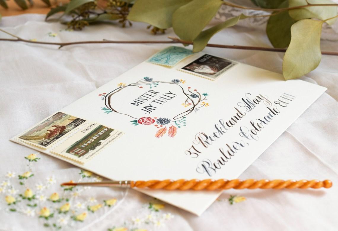 Woodland Watercolor Wreath Envelope | The Postman's Knock