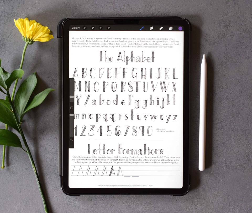 George Style Lettering Worksheet: Procreate Version