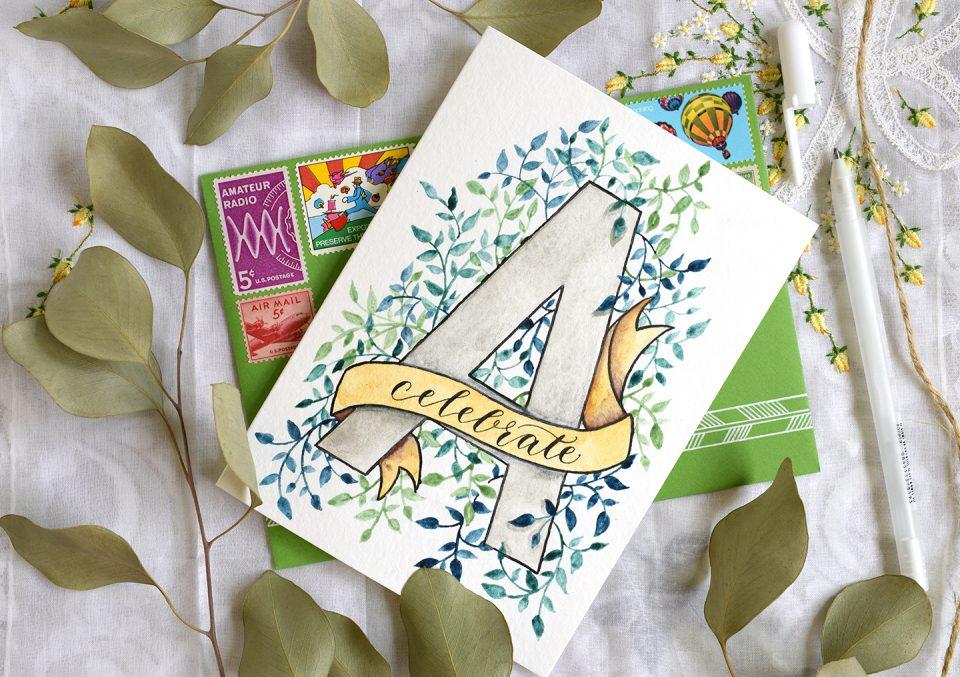 Watercolor Initial DIY Birthday Card Tutorial | The Postman's Knock