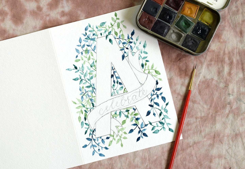 Watercolor Birthday Cards Tutorial ~ Initial diy birthday card tutorial the postman s knock
