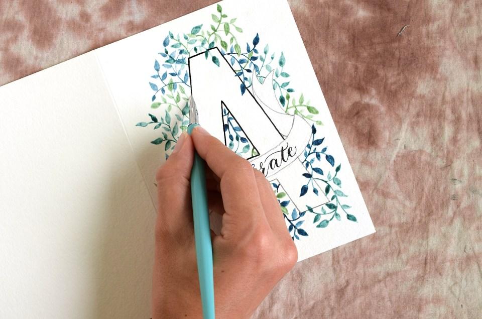 Watercolor Initial DIY Birthday Card Tutorial   The Postman's Knock