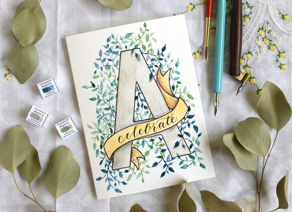 Watercolor Initial Diy Birthday Card Tutorial The