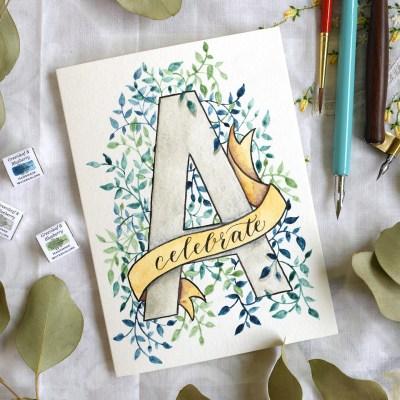 Watercolor Initial DIY Birthday Card Tutorial