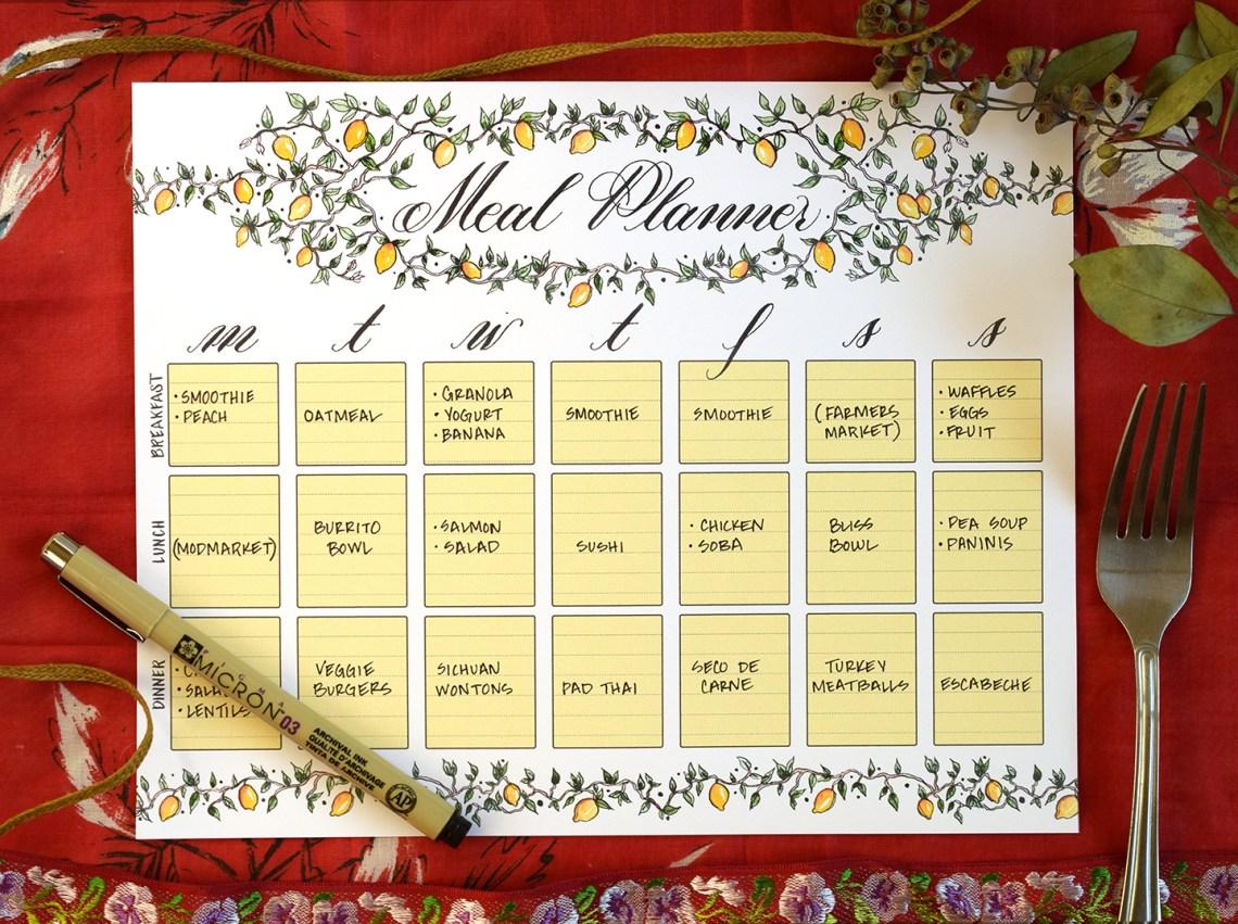 Illustrated Printable Menu Planner   The Postman's Knock