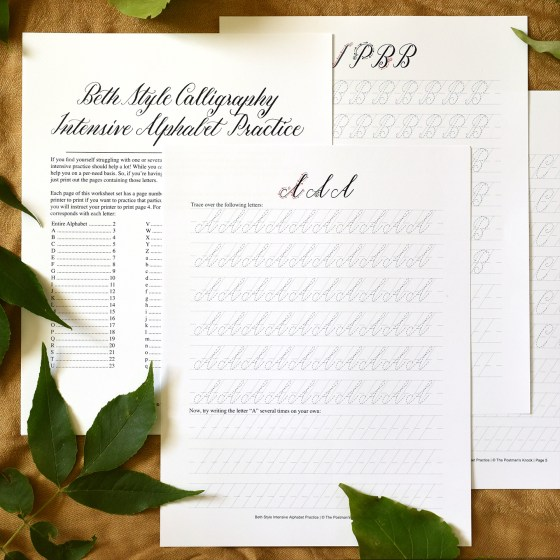 Beth Style Calligraphy Worksheet Set | The Postman's Knock