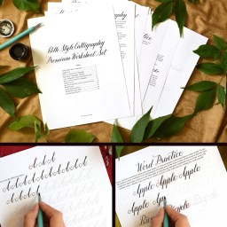 Premium Beth Style Calligraphy Worksheet Set | The Postman's Knock