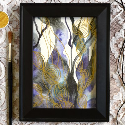 Watercolor + Gold Abstract Art Tutorial