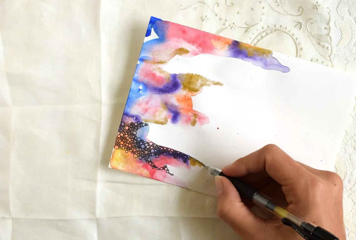 Abstract Watercolor Bubbles Creative Envelope | The Postman's Knock