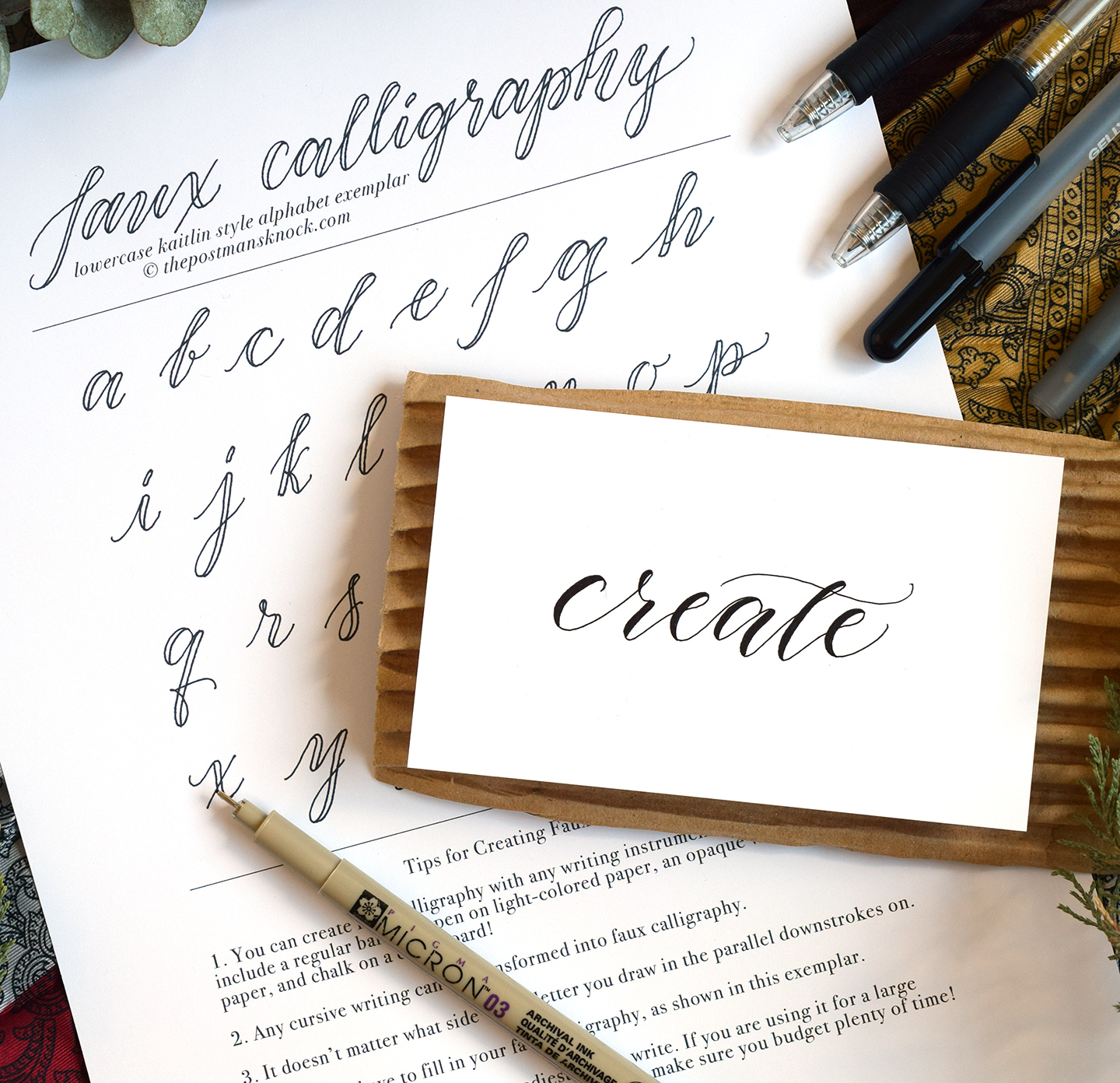 Faux Calligraphy Tutorial | The Postman's Knock