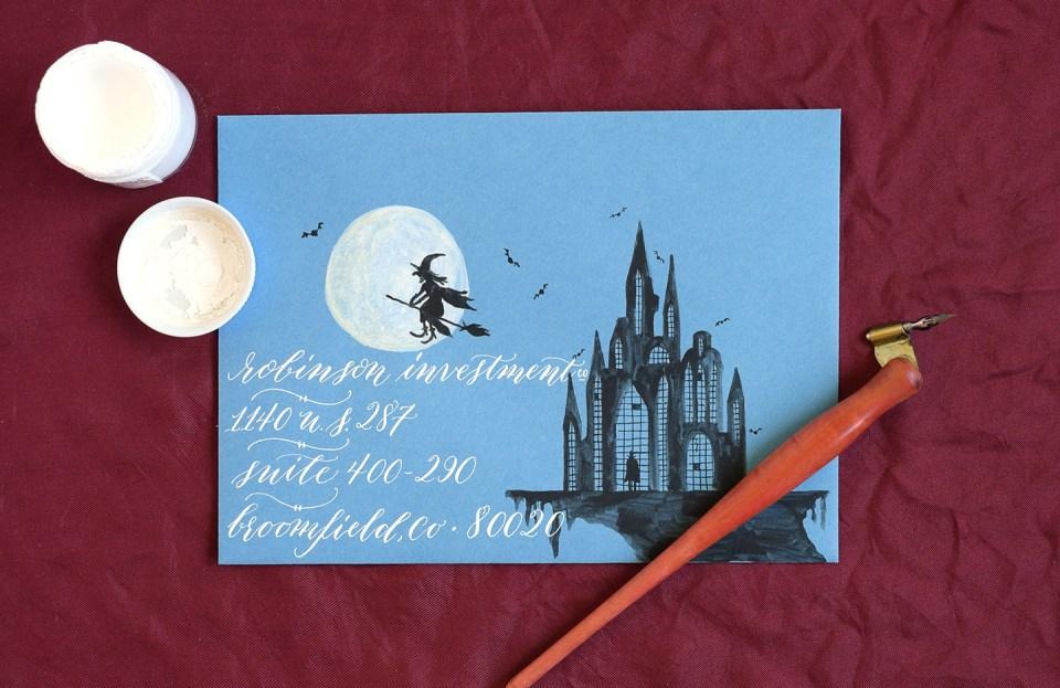 Creepy Halloween Castle Creative Envelope | The Postman's Knock