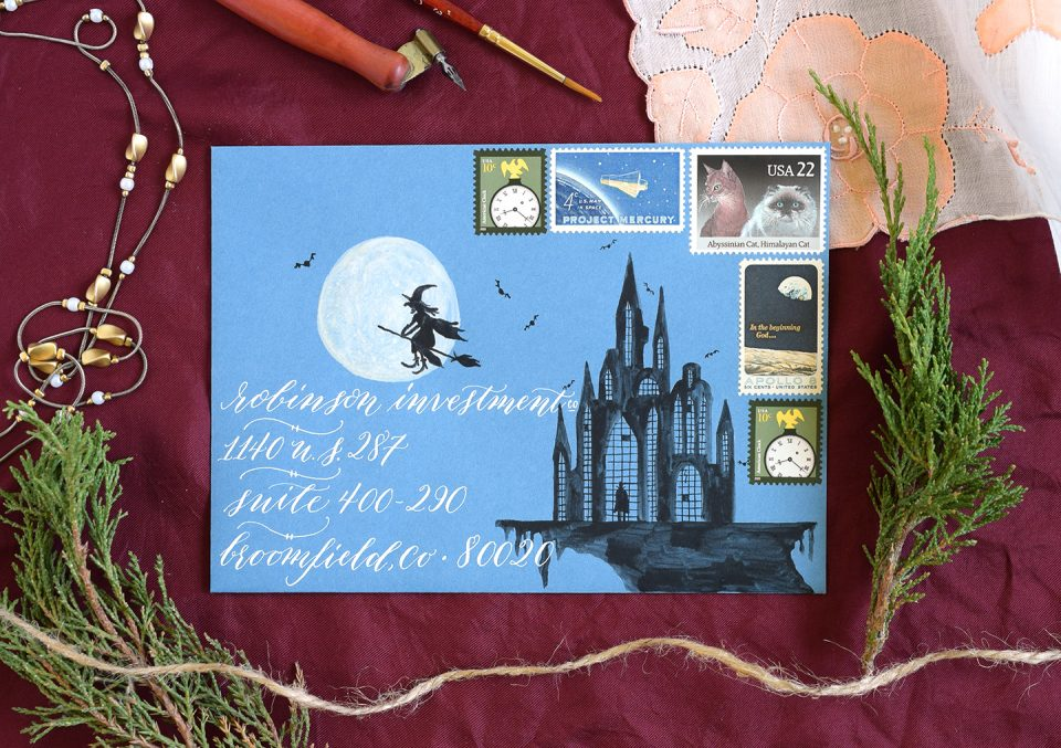 Creepy Halloween Castle Creative Envelope | The Postman's Knock
