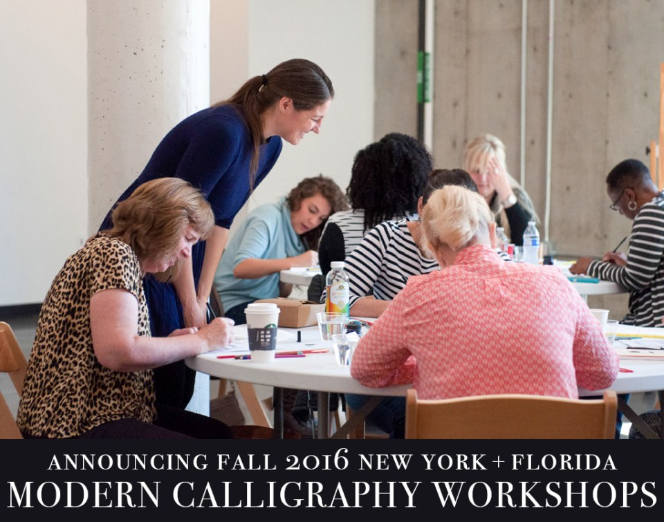 Fall new york florida modern calligraphy workshops