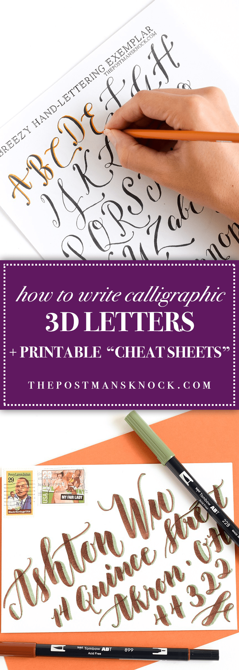 how to write calligraphic 3d letters printable