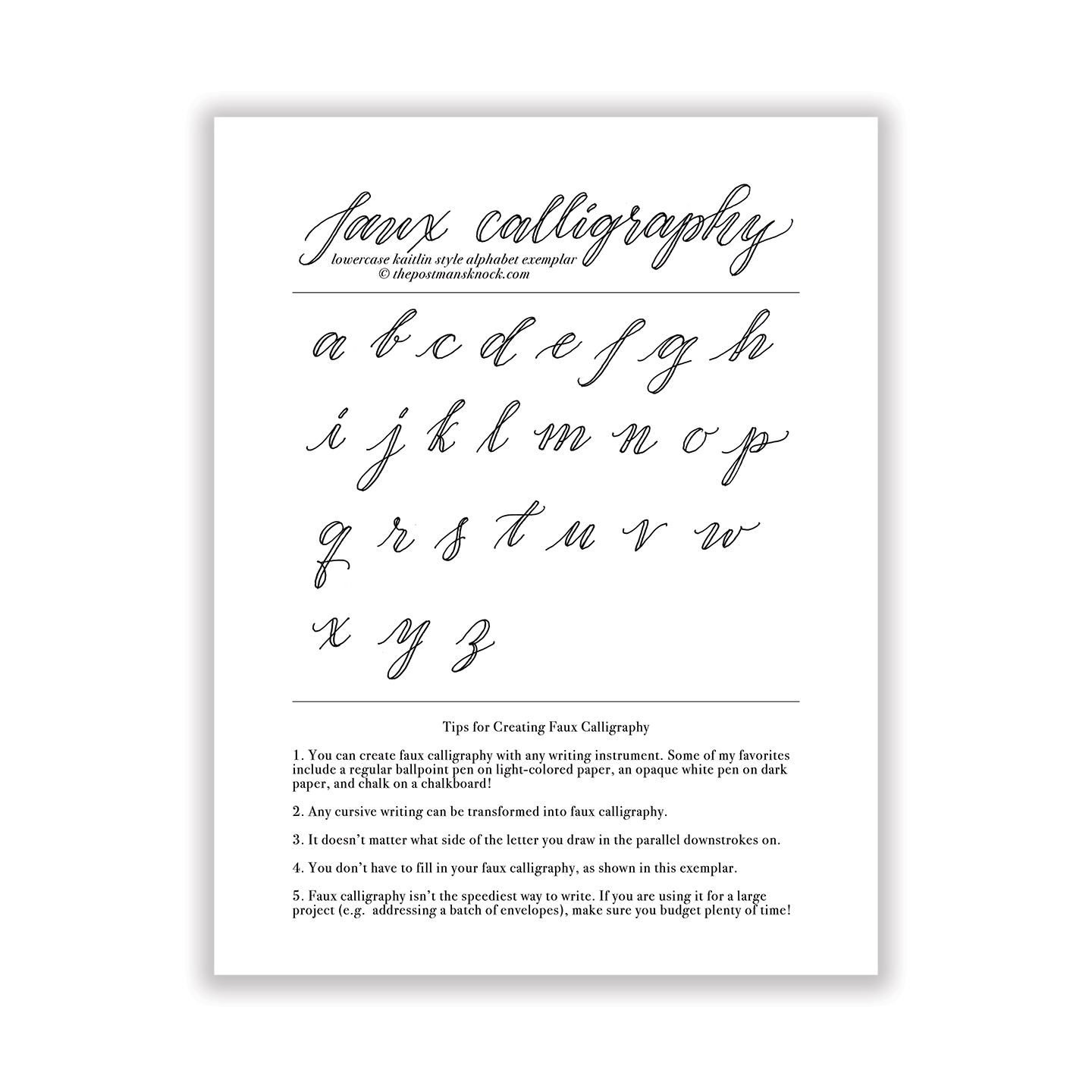 Free Basic Faux Calligraphy Exemplar Kaitlin Style