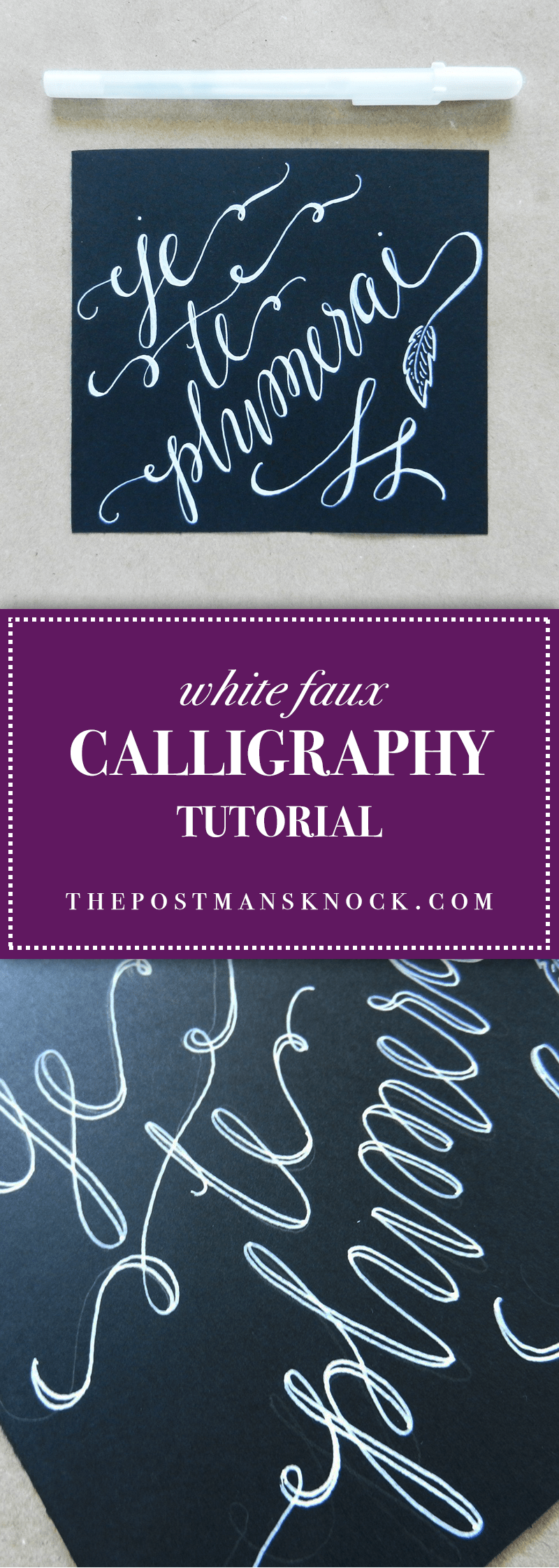 White faux calligraphy tutorial the postman 39 s knock Calligraphy tutorial