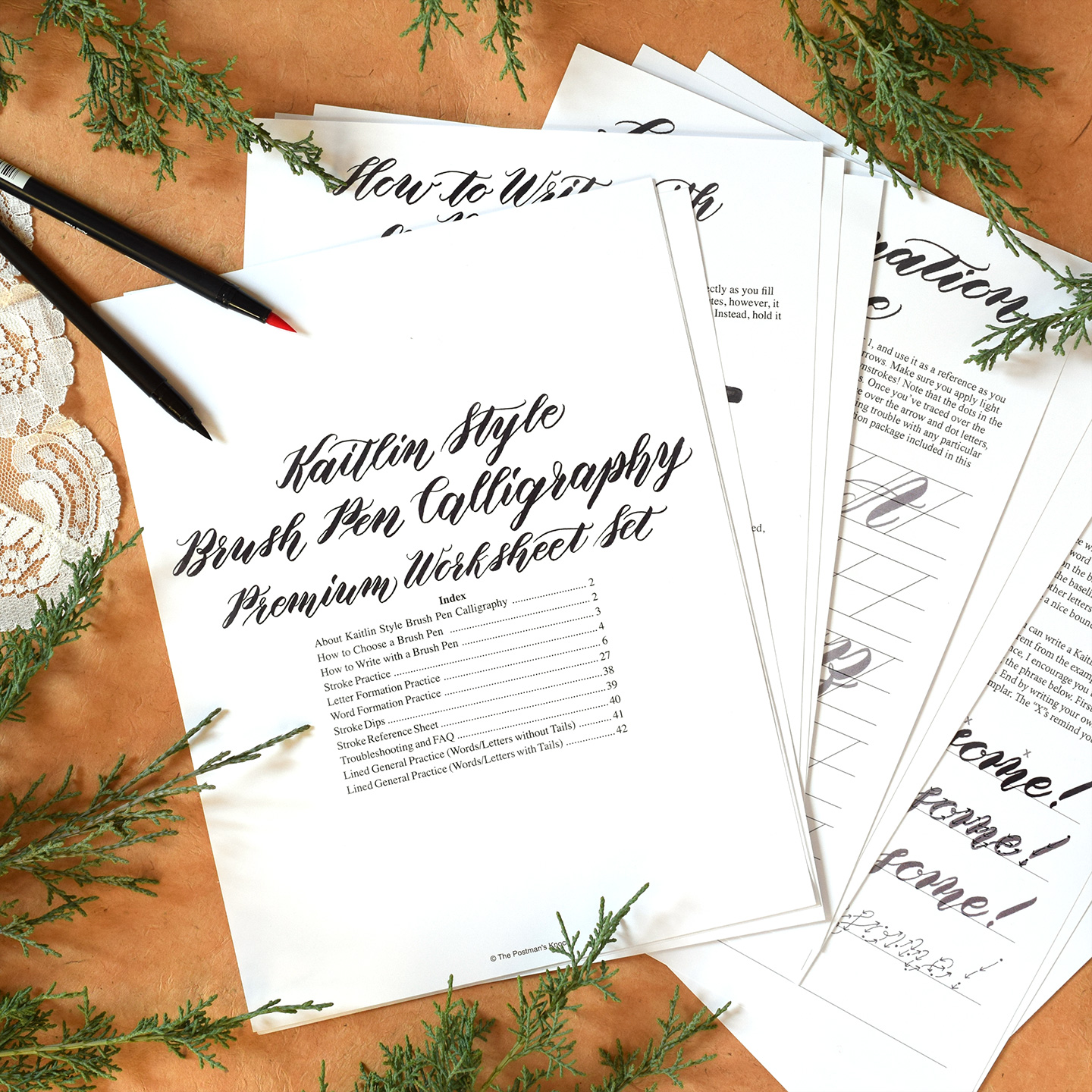 Premium Brush Pen Calligraphy Worksheet Videos Kaitlin