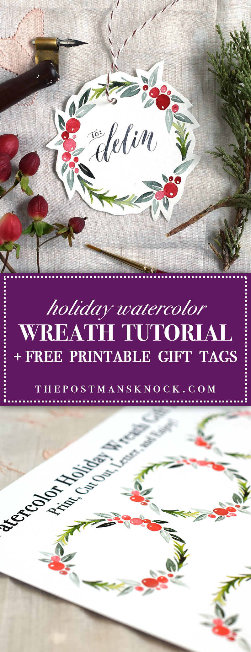 watercolor holiday wreath tutorial free printable the postmans knock