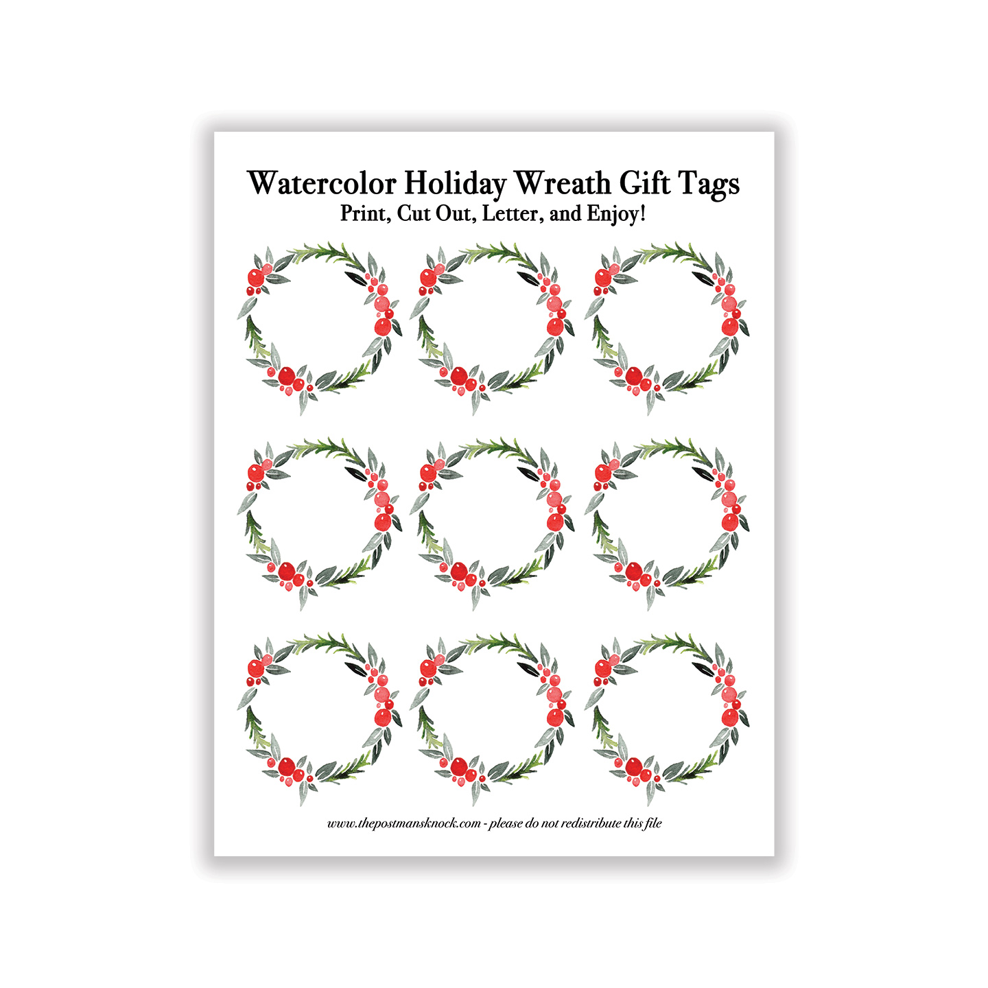 graphic regarding Holiday Tags Printable identified as Printable Watercolor Family vacation Wreath Present Tags