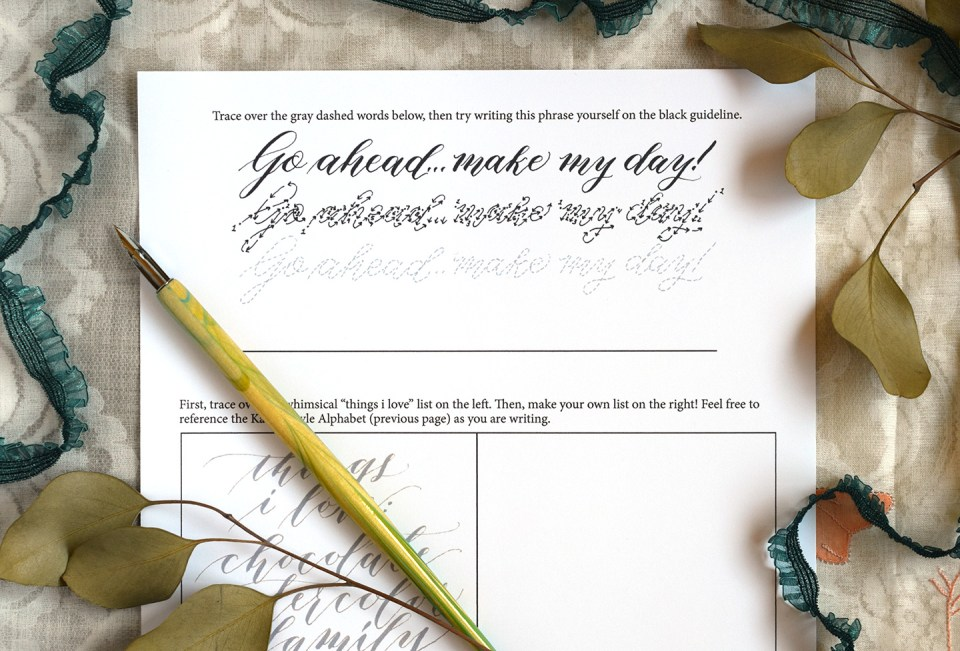 Calligraphy Worksheet | The Postman's Knock