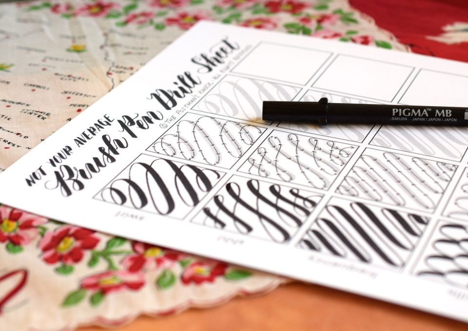 Not Your Average Brush Pen Drills Sheet | The Postman's Knock