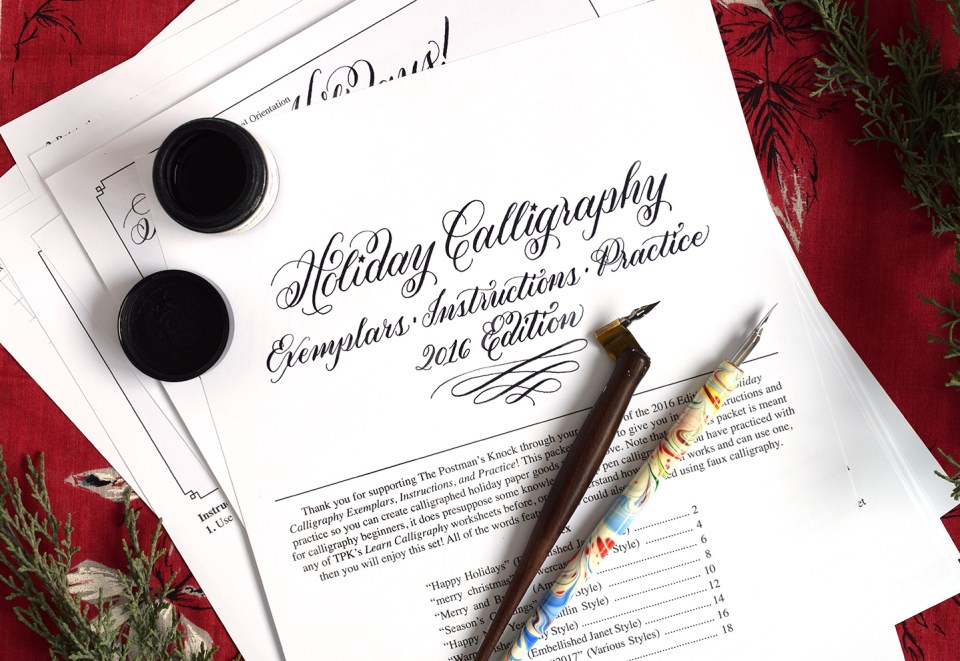Holiday Calligraphy Printable Exemplar + Worksheet | The Postman's Knock