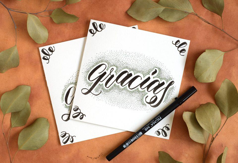"""Gracias"" Brush Pen Lettering | The Postman's Knock"