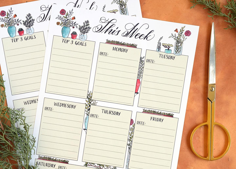 Free Illustrated Printable Weekly Planner | The Postman's Knock