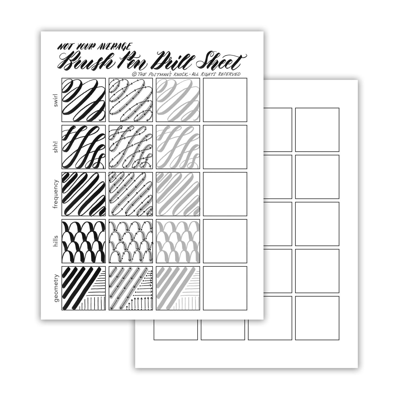 Not Your Average Brush Pen Drills Sheet | The Postman\'s Knock