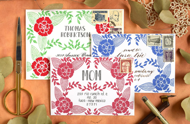 Three Faux Woodcut Art Printable Envelope Templates