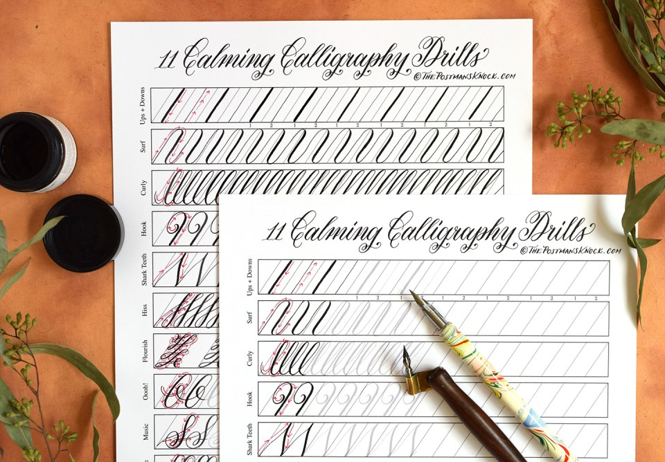11 Calming Calligraphy Drills Printable Free Download – Free Calligraphy Worksheets
