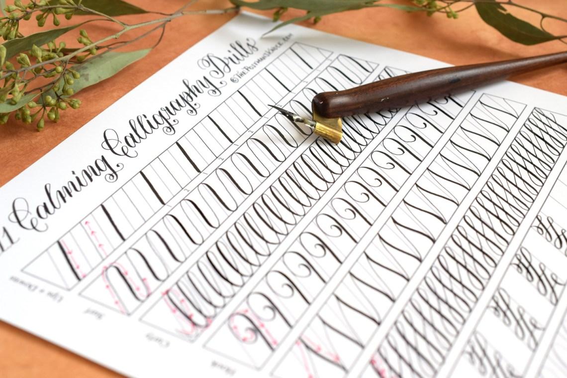 11 Calming Calligraphy Drills Printable   The Postman's Knock