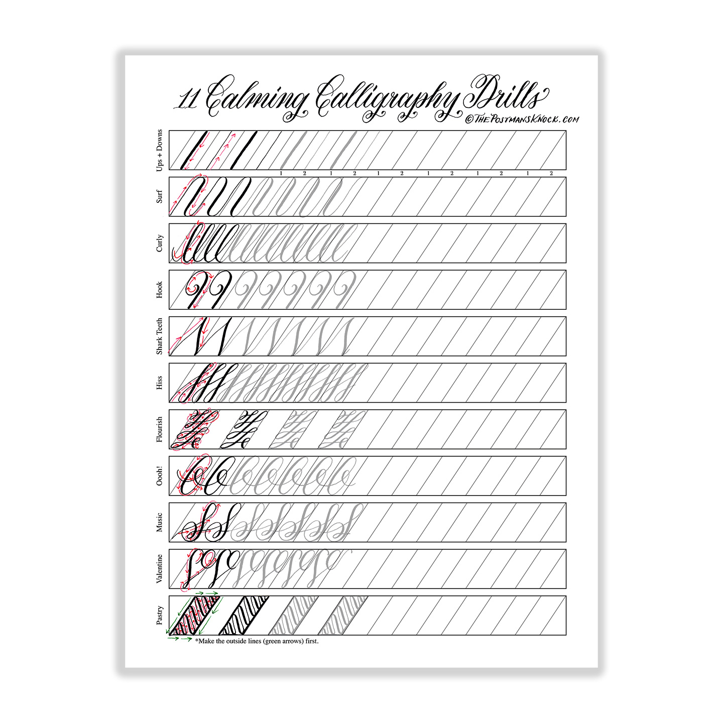 It is an image of Sizzling Calligraphy Practice Sheets Printable