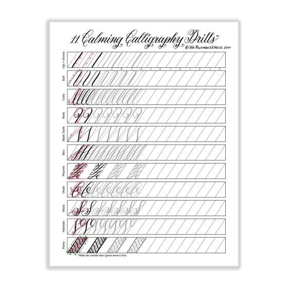 """11 Calming Calligraphy Drills"" Printable   The Postman's Knock"