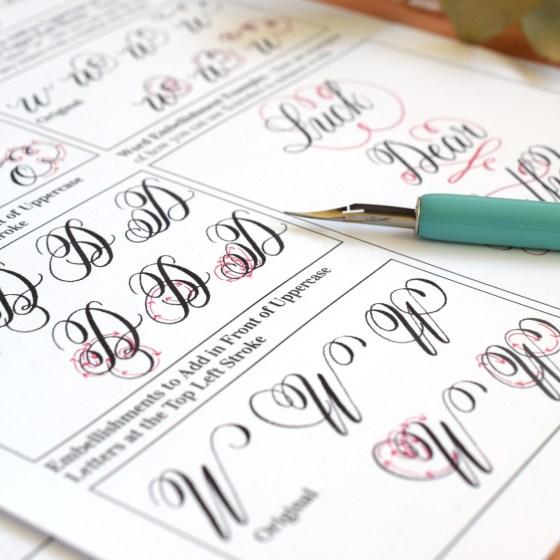 Premium Calligraphy Worksheet Set {Flourish Formal Style}   The Postman's Knock