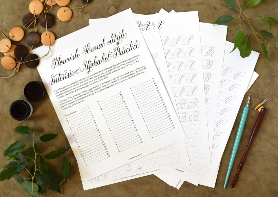 Flourish Formal Style Calligraphy Worksheet | The Postman's Knock